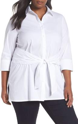 Foxcroft Michaela Solid Tie Front Shirt