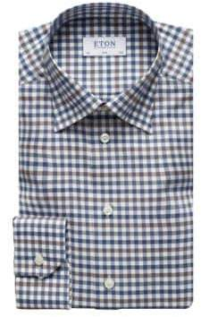 Eton QR Basic Styles Slim-Fit Check Dress Shirt