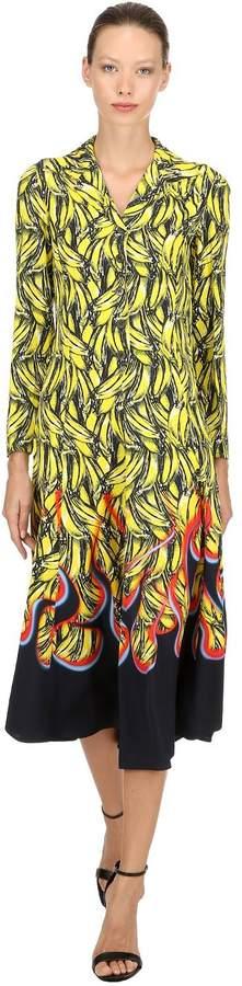 Banana Flames Print Twill Long Dress