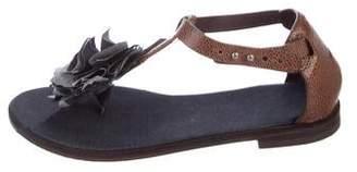 Brunello Cucinelli Leather T-Strap Sandals