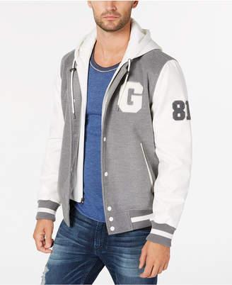 GUESS Men's Hooded Varsity Jacket