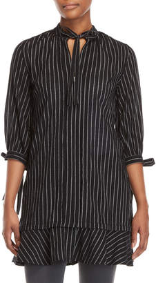 Derek Lam 10 Crosby Black Pinstripe Tie-Neck Shirtdress