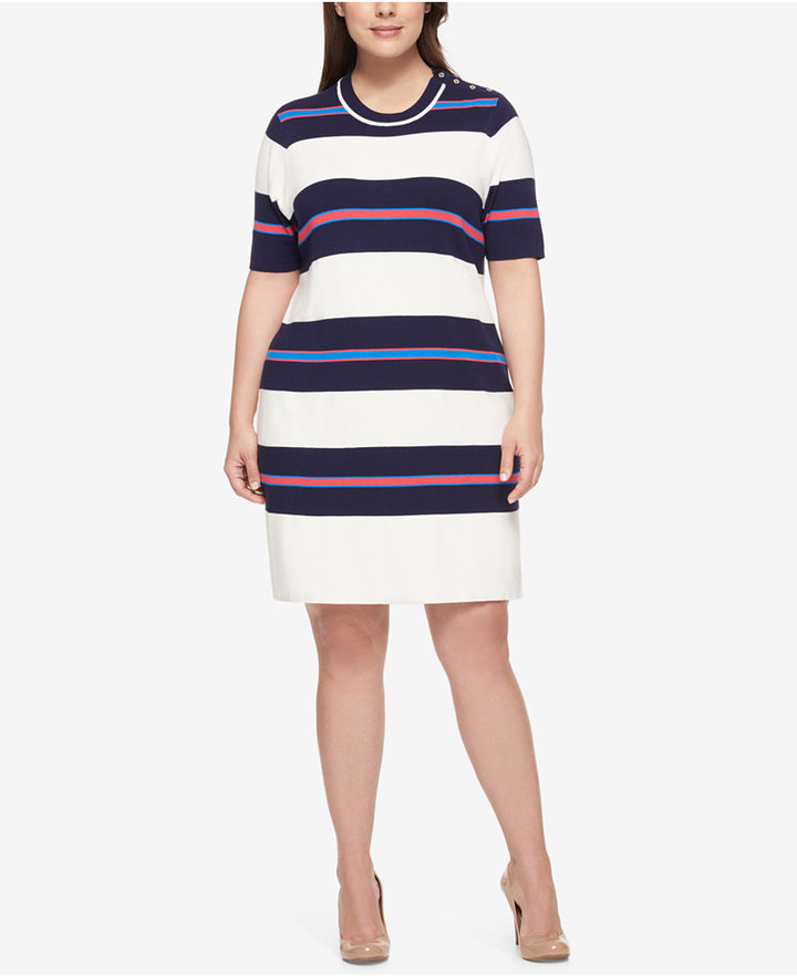 Tommy HilfigerTommy Hilfiger Plus Size Striped Sweater Dress