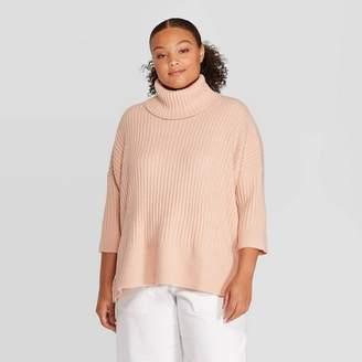 Prologue Women's Plus Size 3/4 Sleeve Turtleneck Pullover Sweater - PrologueTM