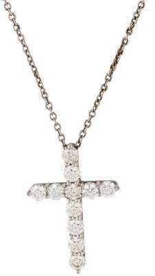Tiffany & Co. Platinum Diamond Cross Pendant Necklace