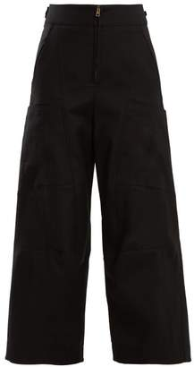 Chloé High Waist Wide Leg Cotton Blend Trousers - Womens - Black
