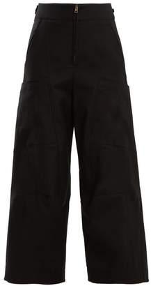Chloé - High Waist Wide Leg Cotton Blend Trousers - Womens - Black