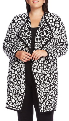 Vince Camuto Cheetah Pattern Drape Front Cardigan