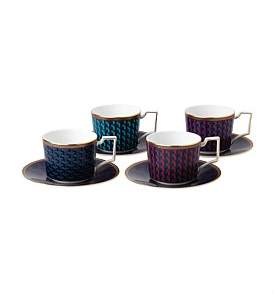 Wedgwood Byzance Set Of 4 Teacups And Saucers