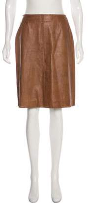 Celine Céline Embossed Leather Skirt Tan Céline Embossed Leather Skirt