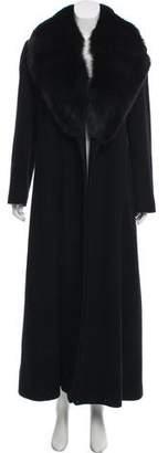 Isaac Mizrahi Fur-Accented Cashmere-Blend Coat