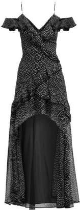 Jonathan Simkhai Polka Dot Print Off The Shoulder Silk Maxi Dress - Womens - Black White