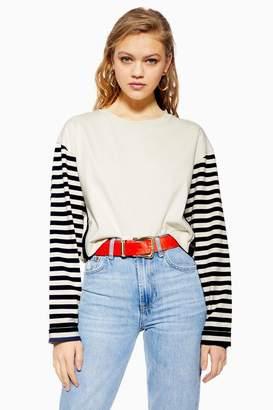 Topshop PETITE Breton Spliced Long Sleeve T-shirt