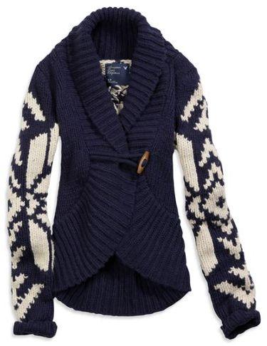 American Eagle AE Snowflake Toggle Sweater