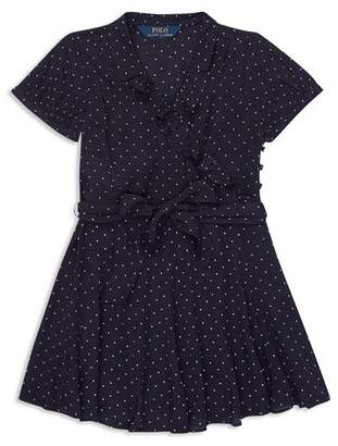Ralph Lauren Girls' Ruffled Polka-Dot Dress - Little Kid