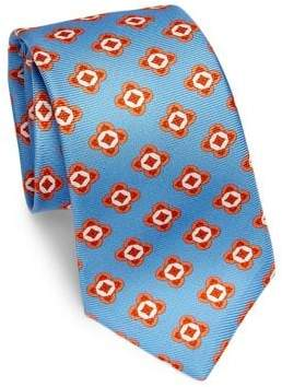 Kiton Large Geometric Floral Silk Tie