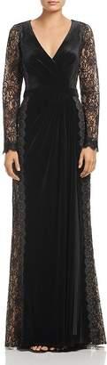 Tadashi Shoji Velvet Lace-Sleeve Gown