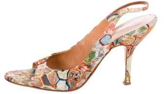 Vera Wang Printed Satin Slingback Sandals