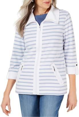 Karen Scott Petite Striped Cotton Blend Full-Zip Jacket