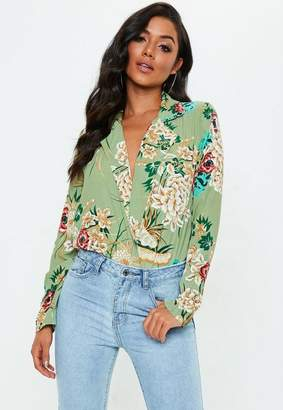 Missguided Green Floral Collared Bodysuit