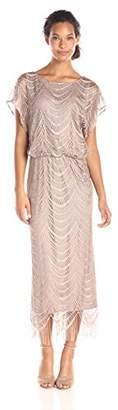 S.L. Fashions Women's Metallic Crochet Dress