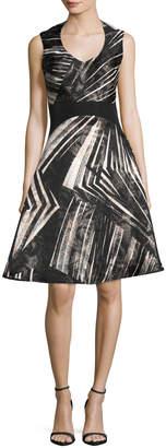 Neiman Marcus Rubin Singer Abstract-Stripe Sleeveless Fit & Flare Dress, Black