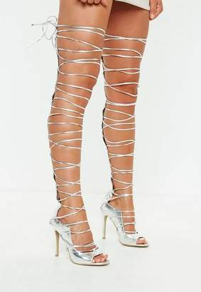 Missguided Silver Lace Up High Leg Gladiator Heeled Sandals