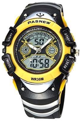 New Brand Mall Boys Girls Sports Watch Electronic Quartz LED Digital Waterproof Watches (Yellow)