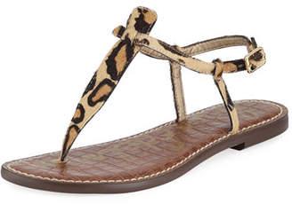 Sam Edelman Gigi Leopard-Print Calf-Hair Thong Sandal