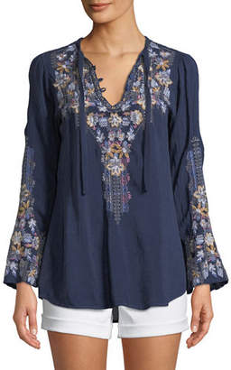 Johnny Was Plus Size Tanya Embroidered Georgette Blouse