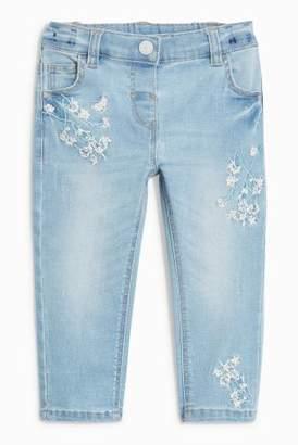 Next Girls Light Blue Floral Embellished Jeans (3mths-6yrs)