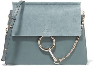 Chloé - Faye Medium Leather And Suede Shoulder Bag - Blue $1,950 thestylecure.com