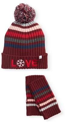 EV1 from Ellen DeGeneres Women's Striped Knit Cuffed Hat With Pom and Hand Warmer Set (burgundy)
