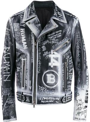 Balmain graffiti print leather jacket
