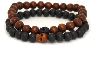 Tag Twenty Two Black and Brown Wood Beaded Bracelet with Skull Accents