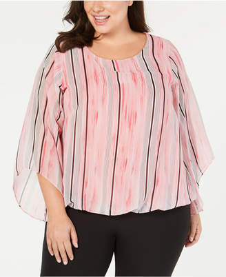 Alfani Plus Size Angel-Sleeve Blouson Top