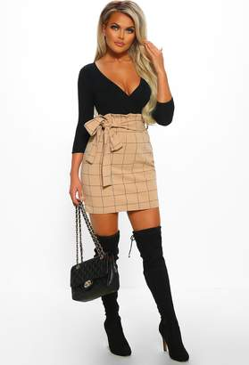 Pink Boutique Business Feeling Stone Checked High Waisted Mini Skirt