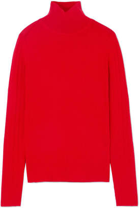 Joseph Ribbed Merino Wool Turtleneck Sweater - Red