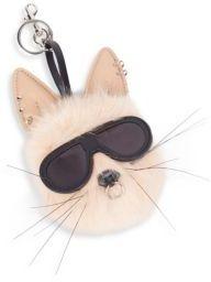 Stella McCartney Rabbit Faux Fur Pom-Pom Keychain