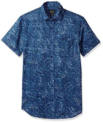 Armani Exchange A|X Men's Printed Short Sleeve Linen Woven