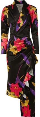 Dodo Bar Or - Ava Wrap-effect Asymmetric Floral-print Satin-jacquard Dress - Black