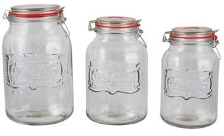 Cocacola Coca-Cola Country Classic 3 piece Embossed Glass Preserving/Storage Jar with Wire Ball & Trigger Closure and Red Gaske
