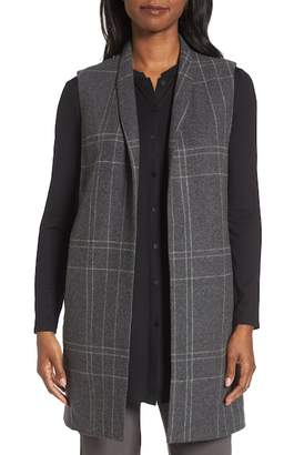 Eileen Fisher Long Plaid Vest
