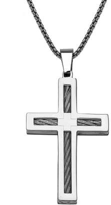 JCPenney FINE JEWELRY Mens Stainless Steel Cable Cross Pendant Necklace