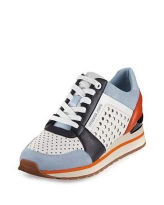 MICHAEL Michael Kors Billie Colorblock Lace-Up Trainer, Ocean/Navy/Orange/Optic White $155 thestylecure.com