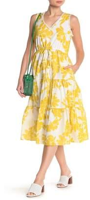 Taylor Floral Ruffle Hem Midi Dress