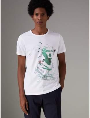 Burberry Bust Print Mélange Cotton T-shirt