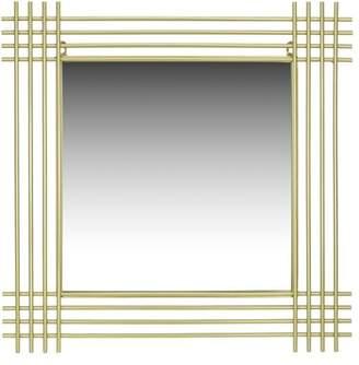 Patton Wall Decor Champagne Metal Pipe Square Wall Accent Mirror