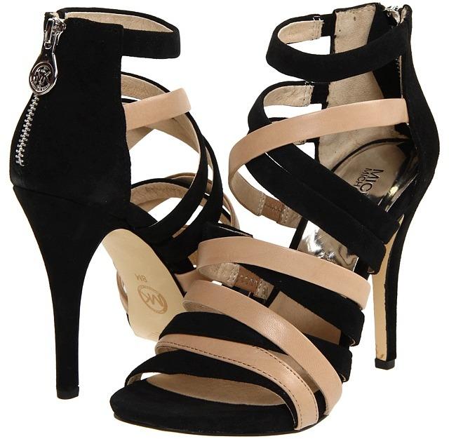 MICHAEL Michael Kors Jenna Sandal (Black/Nude) - Footwear