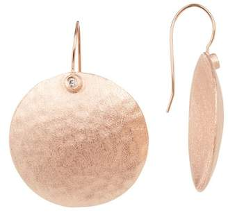 Rivka Friedman Round Hammered Circle Simulated Diamond Accent Earrings